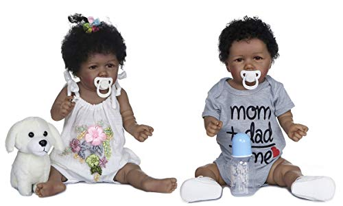 22 inch 2pcs Reborn Baby Doll Twins, Boy and Girl Full Body Silicone Looking Real African American Newborn Black Baby Doll Toys