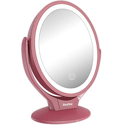 Aesfee Miroir Grossissant Double Face 1x / 7X, Miroir Maquillage avec 21 Lumières LED, Rotation à 360°, écran Tactile Dimmable sur 3 Niveaux, Rechargeable par USB, Miroir de Voyage Lumineux (Or Rose)
