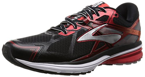Brooks Men's Ravenna 7 Black/High Risk Red/Silver Sneaker 11.5 D (M)