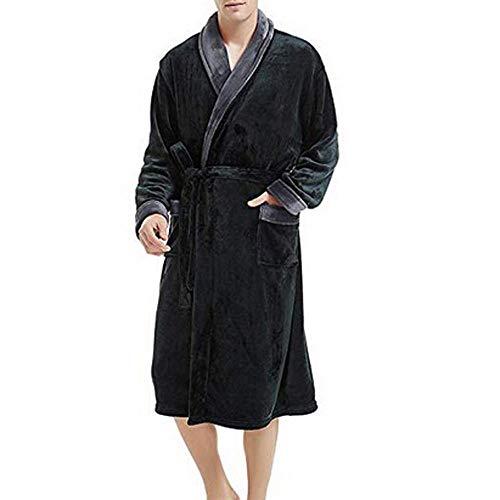 VJGOAL Albornoz para hombre Solapa de manga larga Invierno Plush Color sólido Bata Tallas grandes Casual Suave con bolsillos Pijamas para dormir(5XL,Gris)
