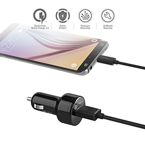 AUKEY Car Charger with Quick Charge 3.0 for Samsung Galaxy S7/Edge, HTC 10, LG G5 and More