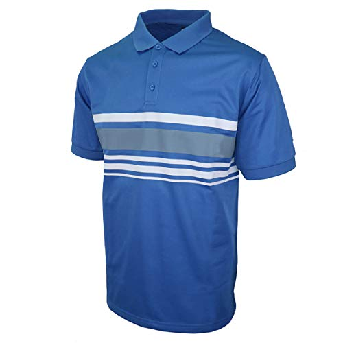 Island Green Golf Mens Chest Stripe Moisture Wicking Flexible Polo Shirt Homme, Bleu/Anthracite, XXXL