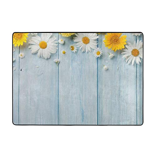Elegant Spring Daisy Flowers Printed Area Rugs Ultra Soft Modern Indoor Carpets for Living Room/Bedroom - 80 X 58 in