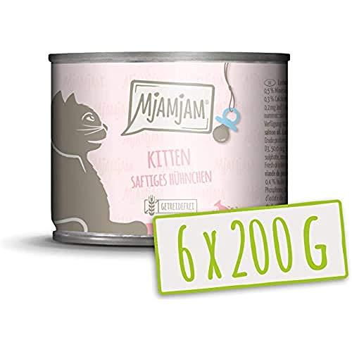 MjAMjAM - Premium Nassfutter für Katzen - Kitten saftiges Hühnchen mit Lachsöl - getreidefrei mit extra viel Fleisch, 6er Pack (6 x 200 g)