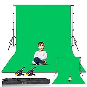 Emart Photography 8.5x10ft Background Stand Backdrop Support System Kit with 10x12ft Muslin Chromakey Green Screen for Photo Video Studio