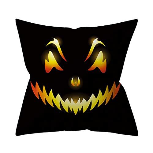 Yowablo Kissenbezug Kissenhülle Wurfkissenbezug Halloween,Kürbislicht Drucken Muster für Büro,Zuhause,Auto,Café,Laden,Bibliothek usw (45cm x 45cm,3H)
