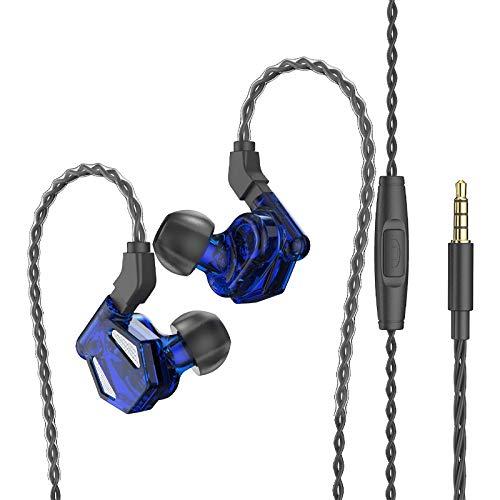 Wivarra Auriculares, VD2 HiFi Auriculares Deportivos Bajo Heavy Auriculares con Cable en la Oreja con MicróFono para Android / MP3 Azul