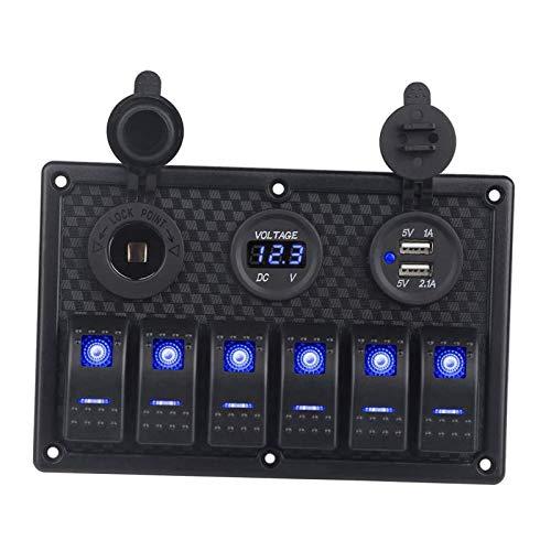 gazechimp Panel de Interruptores Basculantes de Pandillas a Prueba de Agua para Camiones Marinos - Luz azul
