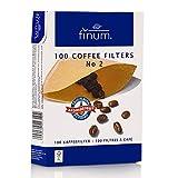 FINUM - Filtri per caffè n. 2, in Carta, 100 Pezzi, Colore Marrone