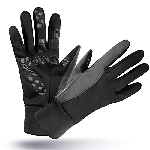 FanVince Running Gloves Touch Screen Winter Warm Glove - Windproof Water Resistant for Cycling Driving Phone Texting Outdoor Hiking Hand Warmer in Cold Weather for Women and Men (Black-Gray,Small)