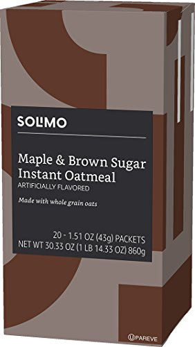 Amazon Brand - Solimo Instant Oatmeal, Maple & Brown Sugar Flavored, 20 packets