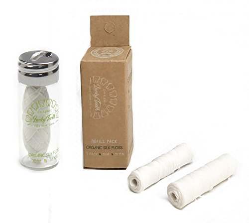 Organic Silk Floss in Glass Jar + REFILLS with Tea Tree and Peppermint essential oils 90 m / 99 yds total - by Lucky Teeth (1+2 Pack)