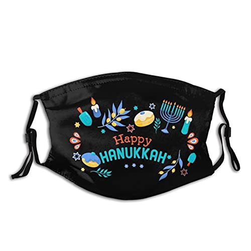 Happy Hanukkah Jewish Face Mask Scarf, Mouth Face Coverreusable Washable With Filters,for Adult Men&Women