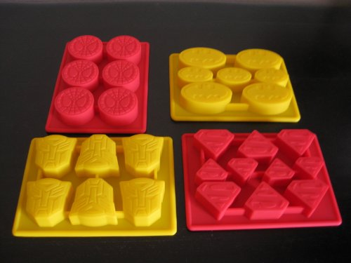 Spiderman Batman Superman Transformers Superheroes Birthday Cake Pan Candy Mold Ice Tray Set