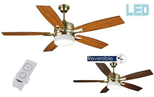 Bastilipo 7913-Adra Cuero Adra Ventilador de Techo LED con Mando a Distancia y Palas Reversibles