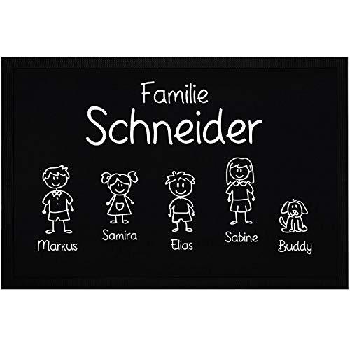 SpecialMe® Fußmatte Familie Nachname Vornamen 1, 2, 3 & mehr Kinder Hund Katze Strichmännchen schwarz 60x40cm