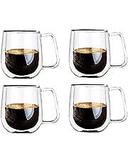 Vicloon Glasmuggar med dubbla väggar, Borosilikat glaskoppar, för te, kaffe, latte, cappuccino, espresso, öl, 250ml