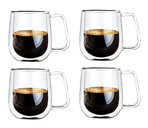 Vicloon Cristal Vidrio de Doble Pared, Taza de Cafe Doble 250 ml, Tazas de Café Resistentes al Calor, Doble Pared de Vidrio de Borosilicato Adecuado para Té, Café, Capuchino (Set de 4)