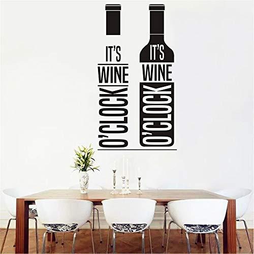 supmsds Weinflasche Wandtattoo Familie Papier Weinglas Wandaufkleber Wandbild Kunst Wohnkultur Küche Bar Wanddekoration 115,5x73,5 cm
