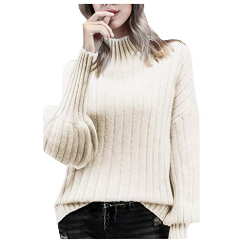 Women's Sweater Turtleneck,Ladies Pullover Chunky Knitted Lantern Sleeve Puff Solid Blouse Jumpers Knitwear Sweater