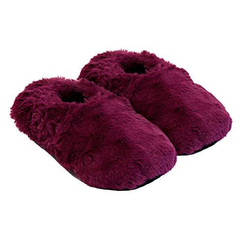 Thermo Sox aufheizbare Hausschuhe für Mikrowelle und Ofen - Mikrowellenhausschuhe Wärmepantoffeln Wärmehausschuhe Wärmeschuhe Fußwärmer Supersoft, Größe:36/40 EU, Farbe:Brombeere