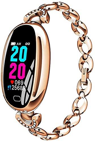 Señoras fitness tracker reloj inteligente pantalla táctil color IP67 impermeable podómetro calorías quema inteligente recordatorio-oro rosa