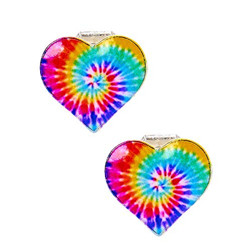Claire's Rainbow Tie Dye Heart Clip On Earrings for Girls, Silver Tone, Metal, 1 Pair