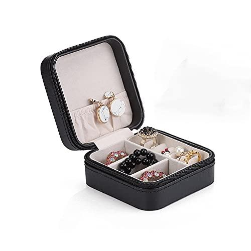 Z-Color Caja de joyería portátil de la Moda de la Personalidad, Collar de Pulsera Caja de Almacenamiento de Almacenamiento de Viaje Caja de joyería Aniversario Regalo de Boda (Color : Black)