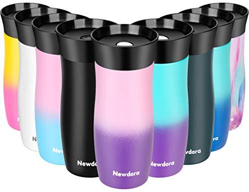 Newdora Thermobecher Kaffeebecher to go Travel Mug Edelstahl Isolierbecher Doppelwandiger Reisebecher, 360°-Trinköffnung Easy Quick-Press-Verschluss, 380 ml, BPA Frei (Rosa Lila)