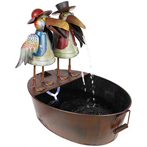 Alpine Corporation Metal Crow Fountain - Outdoor Water Fountain for Garden, Patio, Deck, Porch - Yard Art Decor
