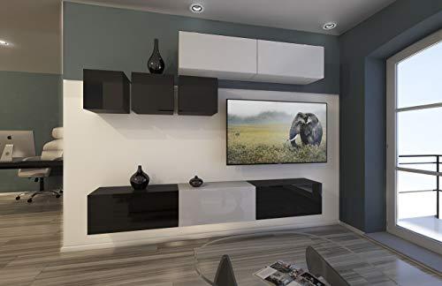 Home Direct Mediawand Modernes Wohnzimmer TV Möbel mit LED Beleuchtung Schrank Wohnschrank Schrankwand Wohnwand Toronto NX273 (AN273-17BW-HG24 1A (249cm))