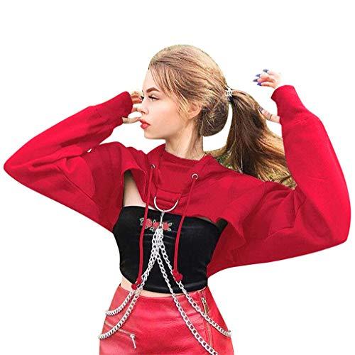 IHEHUA Tank Tops Damen Pullover Langarm Kapuze Pulli Pullover Sweatshirt Langarmshirt Streetwear Sport Crop Top Hoodies Herbst Winter Hoody Freizeit Bluse Tops(Rot,S)