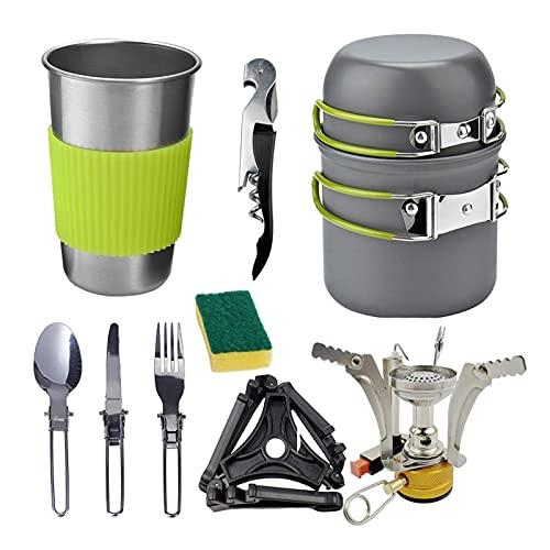 SHANG-JUN Utensilios de Cocina de Camping 1-2 Personas Estufa al Aire Libre Conjunto de pote Combinación Portátil Camping Casa de Camping con Taza Conjunto de Cocina de Camping (Color : B)