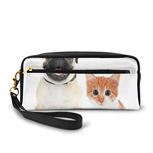 Pencil Case Pen Bag Pouch Stationary,Adorable Kitten and Puppy Photography Cute Animal Fun Young Pets Happy Image,Small Makeup Bag Coin Purse