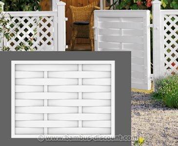 bambus-discount.com Lamellenzaun ROMO weiß, gerade 90x120cm aus Kunststoff - Sichtschutz, Sichtschutz Elemente, Sichtschutzwand, Windschutz