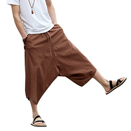ZooBoo Palazzo Parachute Harem Pants - Thai Cargo Boho Hippie Baggy Buddha Yoga Balloon Loose Gypsy Aladdin Chinese Large Pocket Bloomer Trousers Knickers Clothing for Women Men (L, Coffee)