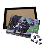 Customized Photo Puzzle 98 Pieces,Design Your Own Picture Jigsaw Puzzle with Wood Photo Frame,Desktop Displayed Custom Photo Frame Personalized Gift for Her and Him (92pcs,Black)