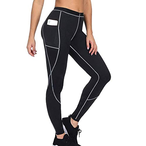QINGJIA Moisture Wicking Remiendo de la yoga de la pérdida de peso que adelgaza los pantalones de las polainas Mujeres Running Bodyshaper bolsillo Thermo Sweat polainas polainas de fitness Permeable a