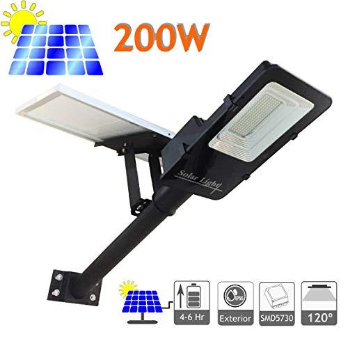 JANDEI - Farola LED 200W Solar Exterior IP65 Panel Orientable 120 LEDS 3500 Lúmenes 6000K Blanco Frío Batería Ion-Litio