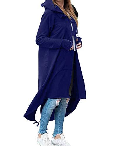 Kidsform Donna Felpe con Cappuccio Manica Lunga Casual Chic Eleganti Hoodie Donna Tinta Unita Felpa Felpa Lunga Donna Felpe con Zip Autunno Invernali Felpe Z-Blu S