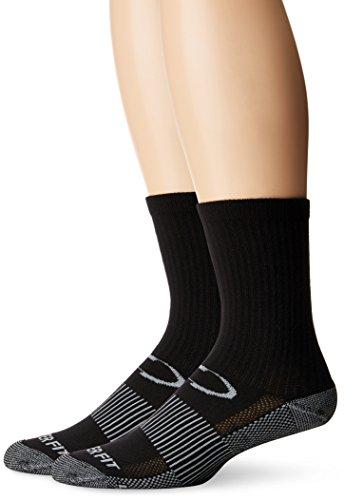 Copper Fit unisex adult Crew Sport - 2 Pack Running Socks, Black, Large-X-Large US