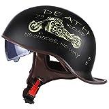 ABDOMINAL WHEEL Retro-Motorrad-Halbhelm, Motorrad-Halbschalen-Helm mit einziehbarer UV-Schutzbrille, ECE-Zertifizierung, ABS-Material, Unisex, Chopper, Cruiser, Biker-Helme C, XL = 61 ~ 62 cm
