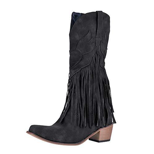 Shujin Damen Boho Stiefeletten Cowboy Boots mit Blockabsatz Flandell Franse Mokassin Stiefel Schlüpfen Stiefel Warm Western Biker Boots Bequeme Winterstiefel