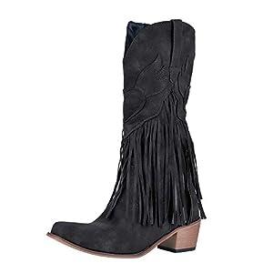 Puimentiua Botas de Tacón para Mujer Botines Bohemia Zapatos Vaquero con Flecos de Otoño Invierno   DeHippies.com