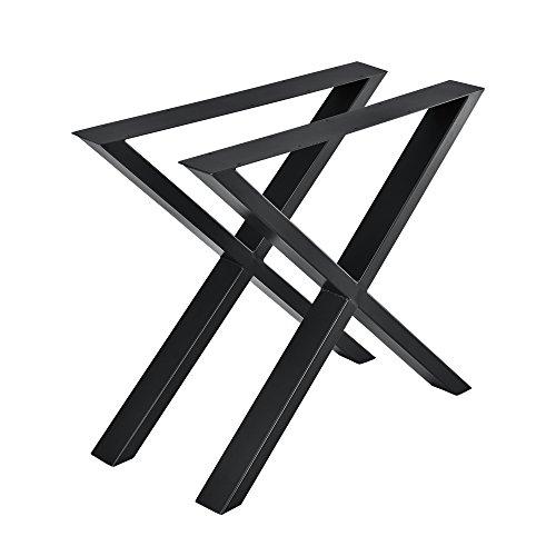 [en.casa] 2X Tischgestell 79x72cm DIY Tisch Tischkufen X-Gestell Schwarz Stahl