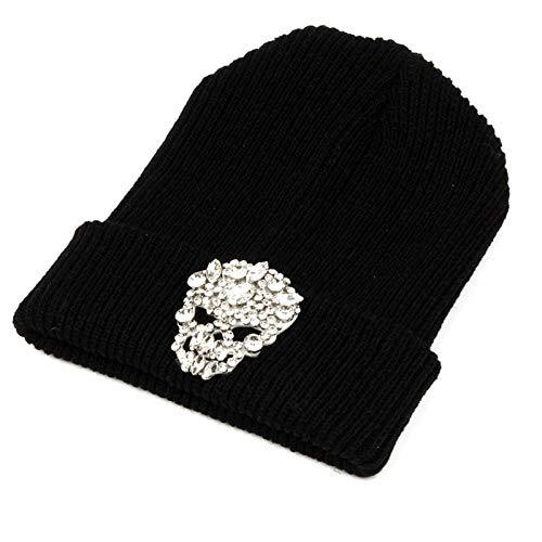 XIAOJIE Heren en vrouwen gebreide hoeden Beanies Winter Vrouw Warm Hoeden Crystal Skull Heads Gebreide Hoed Bonnet Hoeden Man Hat Haak Cap Skullies