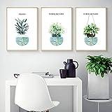 QLWLKJ Kanvasmålning Grön växt Ananasblommaposter Och tryck Väggkonst Bild Vardagsrum Modern heminredning-40x60cmx3 Ingen ram