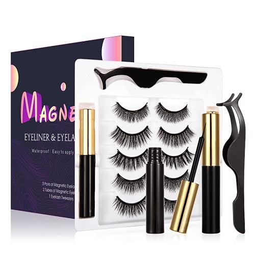 Magnetic Eyelashes and Eyeliner Kit, Magnetic Eyelashes Pack, Reusable 3D Magnetic lashes, False Eye Lash Set, False Eyelashes Natural Look No Glue Needed (5 Pairs)