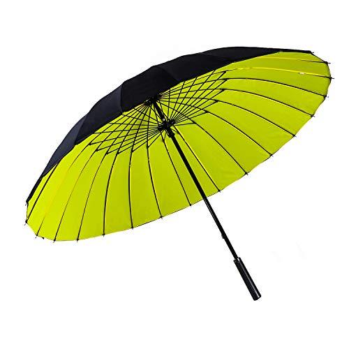 ThreeH Regenschirm Golfschirm Wasserabweisend Sturmfester Doppelter Baldachin Groß Stockschirm KS12,Yellow