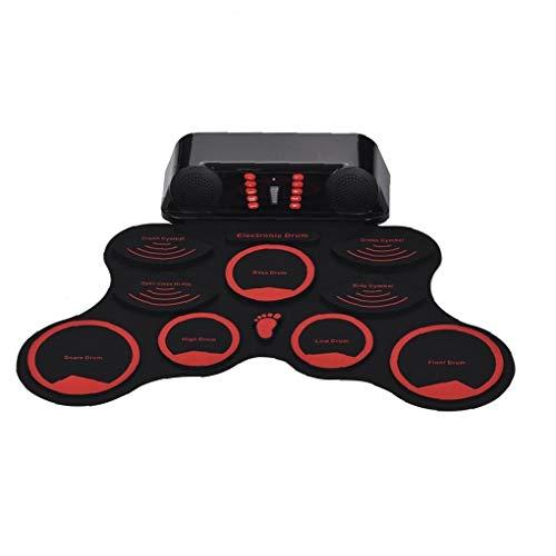 Roll-Up portable tambor conjunto del kit 9 ??pads de batería de silicio Electrónicos Digitales Altavoces dobles con regalo del festival musical de Navidad cable USB Palillos Pedales